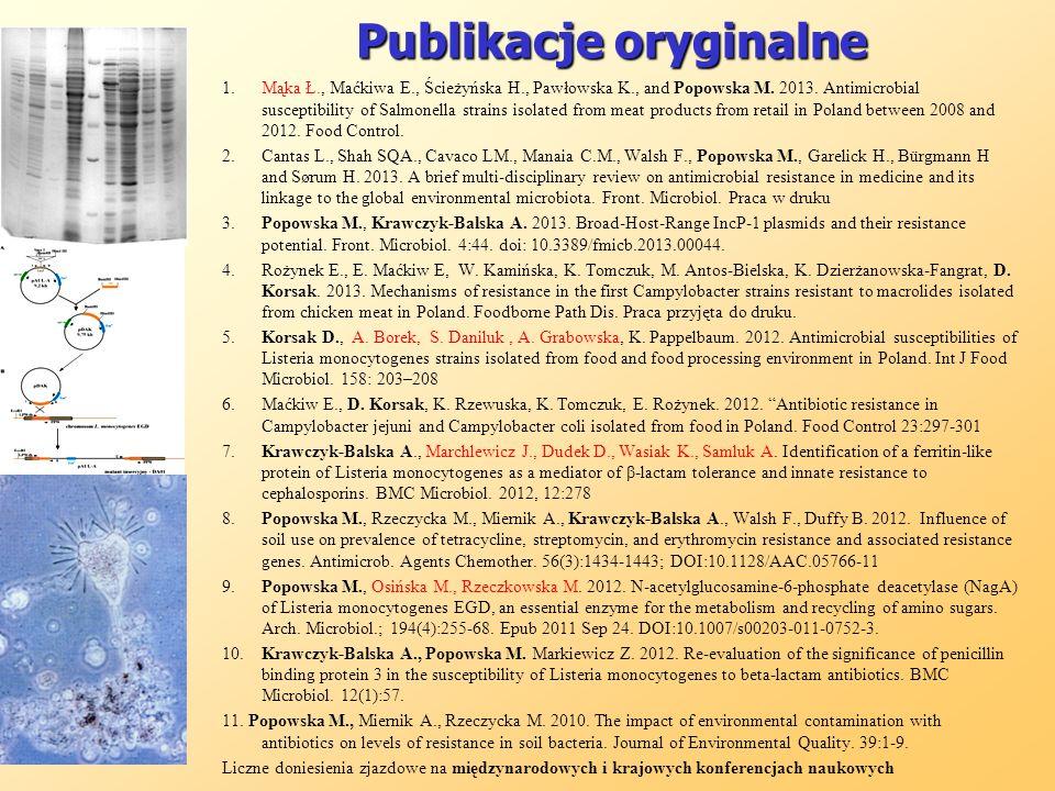 Publikacje oryginalne 1.Mąka Ł., Maćkiwa E., Ścieżyńska H., Pawłowska K., and Popowska M. 2013. Antimicrobial susceptibility of Salmonella strains iso