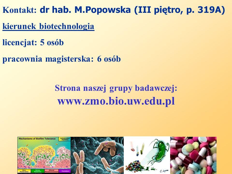 Strona naszej grupy badawczej: www.zmo.bio.uw.edu.pl Kontakt: dr hab. M.Popowska (III piętro, p. 319A) kierunek biotechnologia licencjat: 5 osób praco