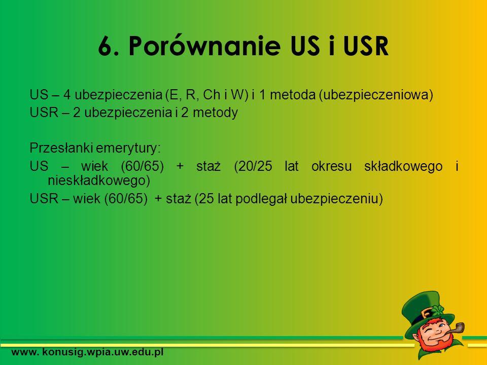 6. Porównanie US i USR US – 4 ubezpieczenia (E, R, Ch i W) i 1 metoda (ubezpieczeniowa) USR – 2 ubezpieczenia i 2 metody Przesłanki emerytury: US – wi