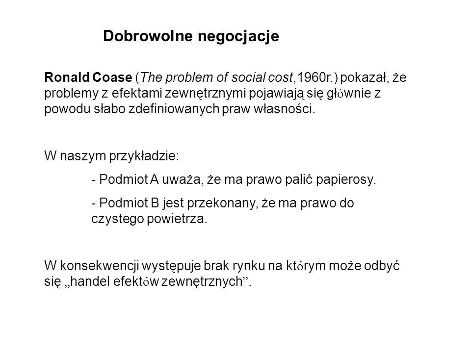 Ronald Coase (The problem of social cost,1960r.) pokazał, że problemy z efektami zewnętrznymi pojawiają się gł ó wnie z powodu słabo zdefiniowanych praw własności.