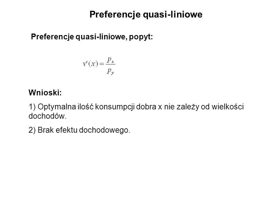 Preferencje quasi-liniowe Preferencje quasi-liniowe, popyt: Wnioski: 1) Optymalna ilość konsumpcji dobra x nie zależy od wielkości dochodów.