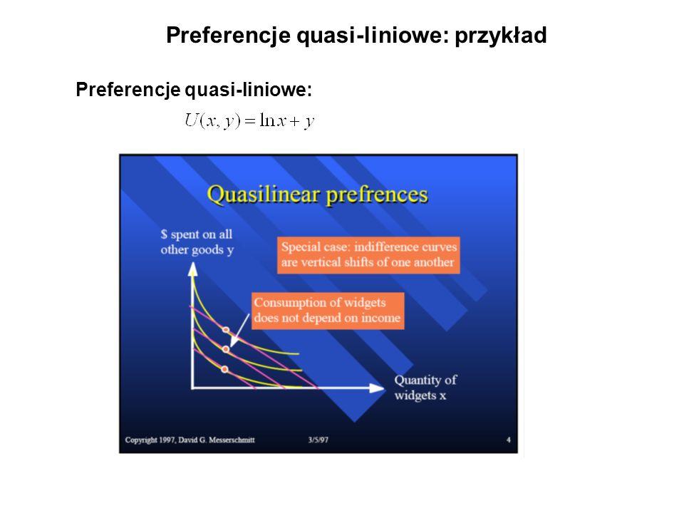 Preferencje quasi-liniowe: przykład Preferencje quasi-liniowe: