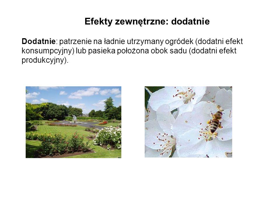 Efekty zewnętrzne: dodatnie Dodatnie: patrzenie na ładnie utrzymany ogródek (dodatni efekt konsumpcyjny) lub pasieka położona obok sadu (dodatni efekt produkcyjny).