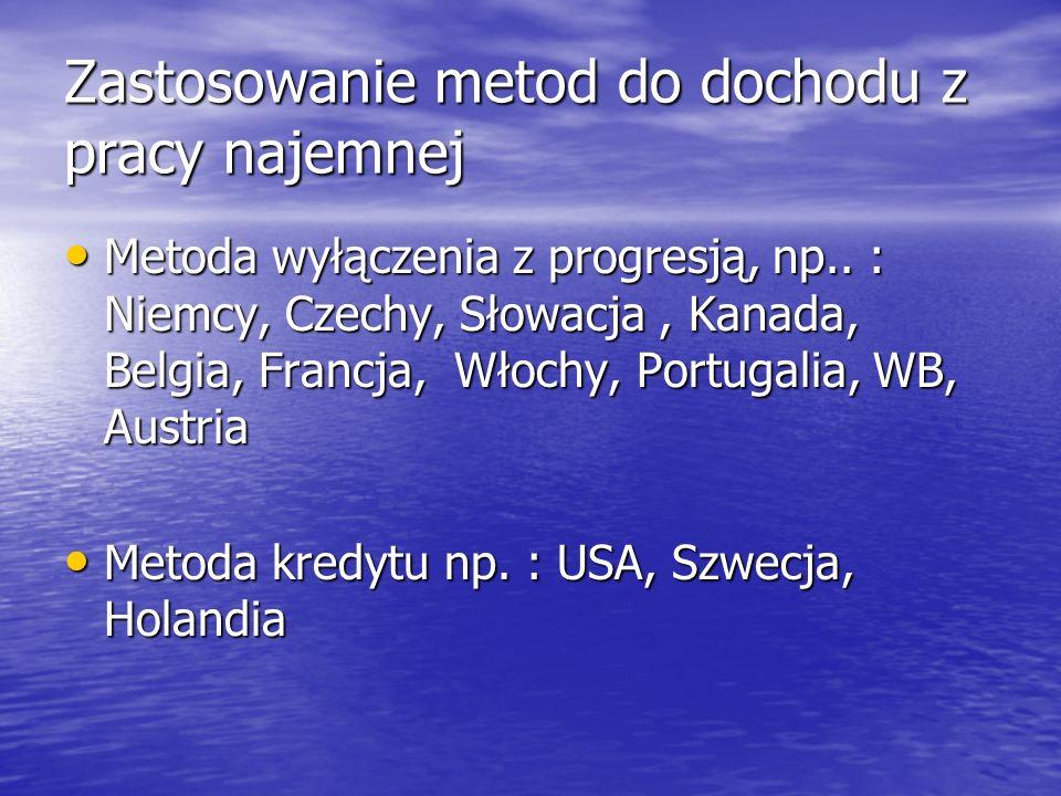 Zastosowanie metod do dochodu z pracy najemnej Metoda wyłączenia z progresją, np.. : Niemcy, Czechy, Słowacja, Kanada, Belgia, Francja, Włochy, Portug