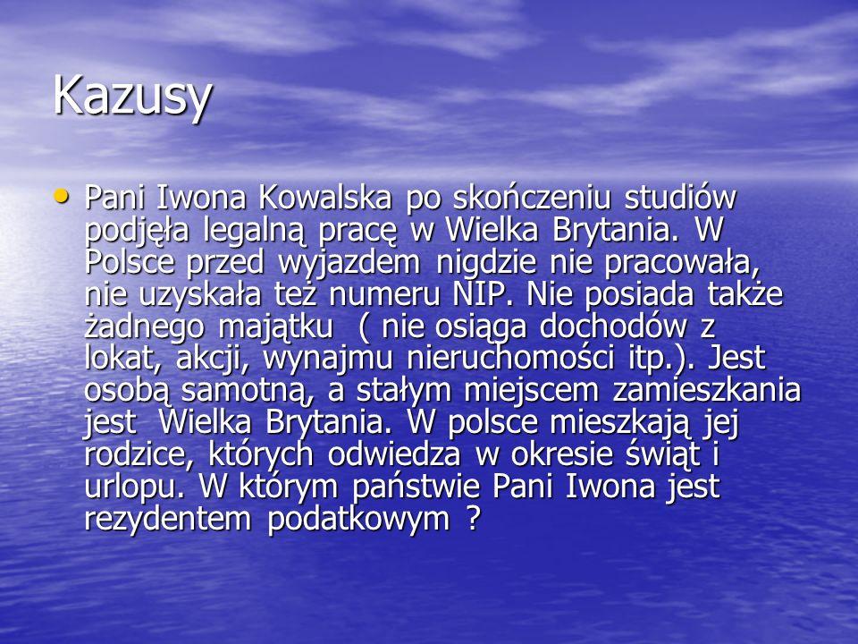 Kazusy Pani Iwona Kowalska po skończeniu studiów podjęła legalną pracę w Wielka Brytania. W Polsce przed wyjazdem nigdzie nie pracowała, nie uzyskała