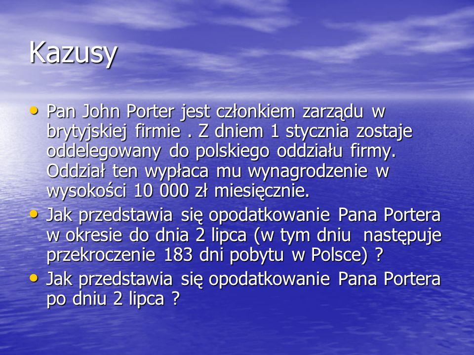 Kazusy Pan John Porter jest członkiem zarządu w brytyjskiej firmie. Z dniem 1 stycznia zostaje oddelegowany do polskiego oddziału firmy. Oddział ten w
