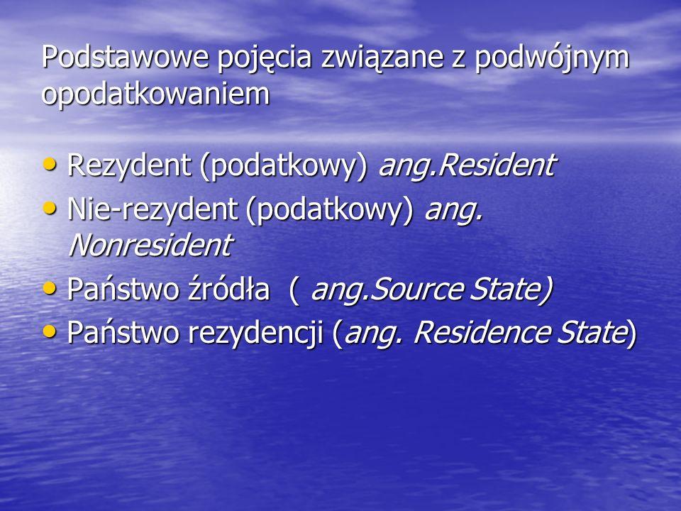 Podstawowe pojęcia związane z podwójnym opodatkowaniem Rezydent (podatkowy) ang.Resident Rezydent (podatkowy) ang.Resident Nie-rezydent (podatkowy) an