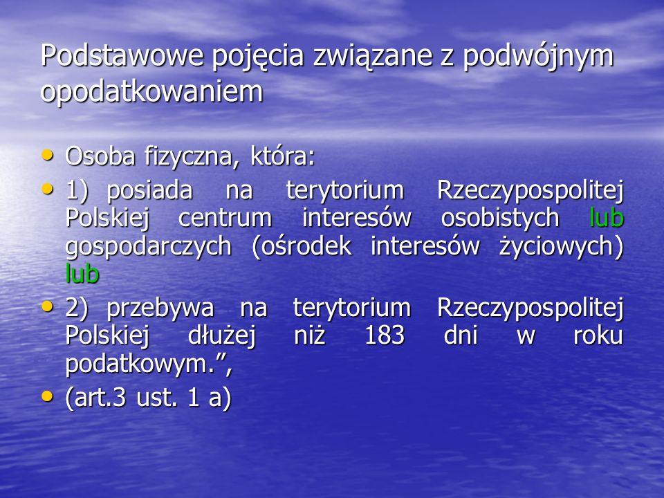 Podstawowe pojęcia związane z podwójnym opodatkowaniem Osoba fizyczna, która: Osoba fizyczna, która: 1)posiada na terytorium Rzeczypospolitej Polskiej