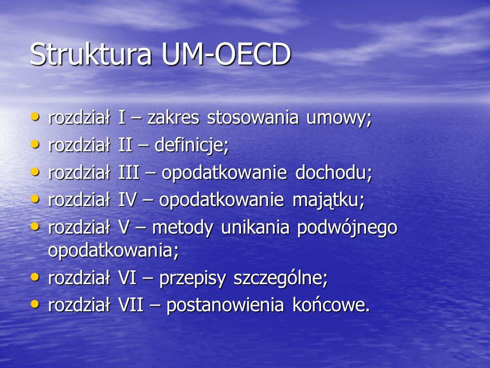 Struktura UM-OECD rozdział I – zakres stosowania umowy; rozdział I – zakres stosowania umowy; rozdział II – definicje; rozdział II – definicje; rozdzi