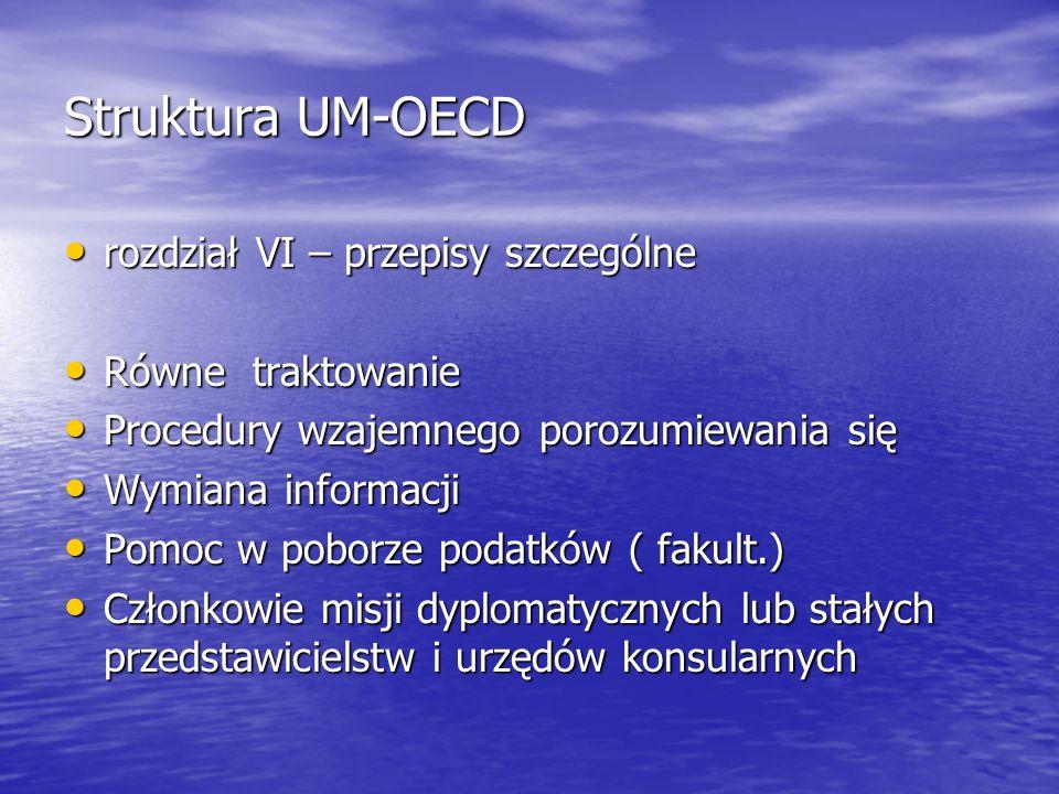 Struktura UM-OECD rozdział VI – przepisy szczególne rozdział VI – przepisy szczególne Równe traktowanie Równe traktowanie Procedury wzajemnego porozum