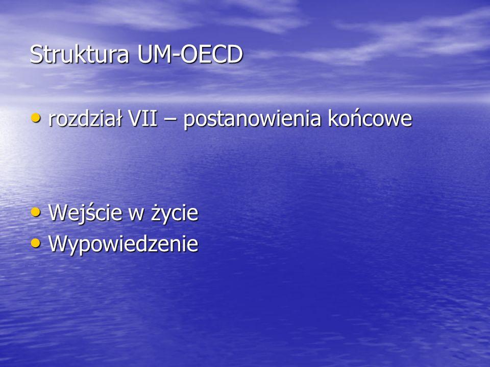Struktura UM-OECD rozdział VII – postanowienia końcowe rozdział VII – postanowienia końcowe Wejście w życie Wejście w życie Wypowiedzenie Wypowiedzeni