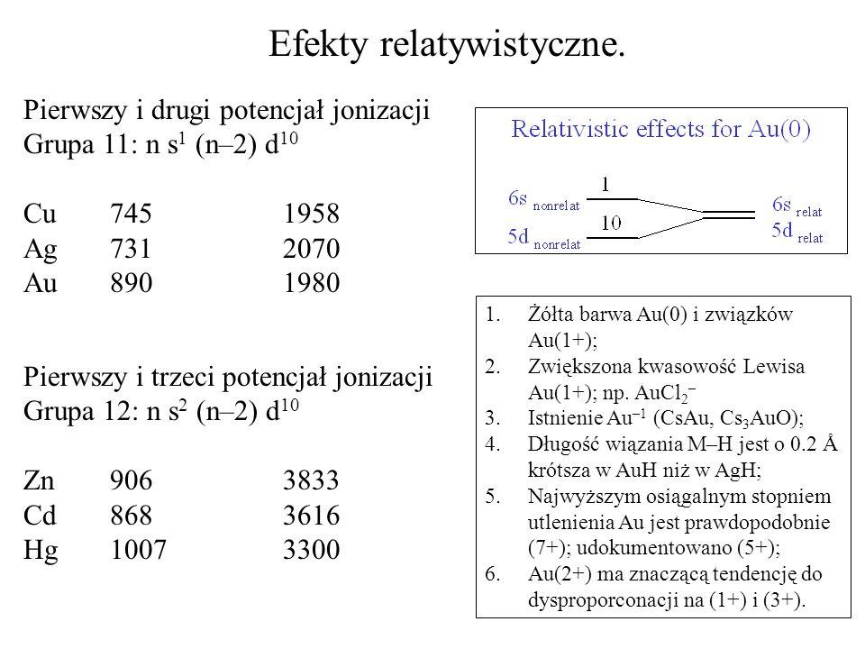 Efekty relatywistyczne. Pierwszy i drugi potencjał jonizacji Grupa 11: n s 1 (n–2) d 10 Cu 7451958 Ag 731 2070 Au 890 1980 Pierwszy i trzeci potencjał