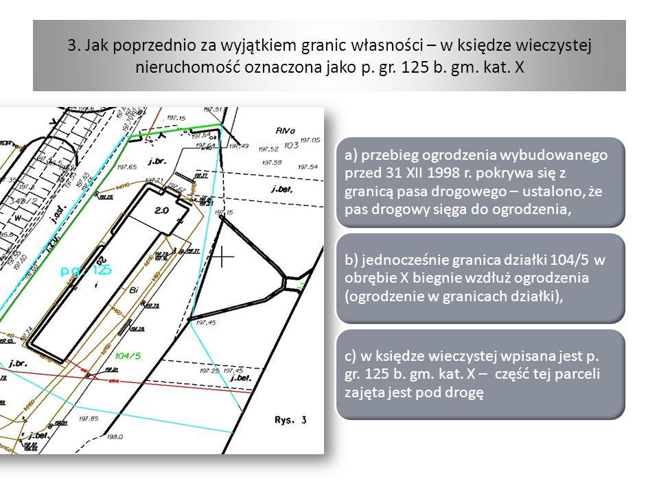3. Jak poprzednio za wyjątkiem granic własności – w księdze wieczystej nieruchomość oznaczona jako p. gr. 125 b. gm. kat. X a) przebieg ogrodzenia wyb