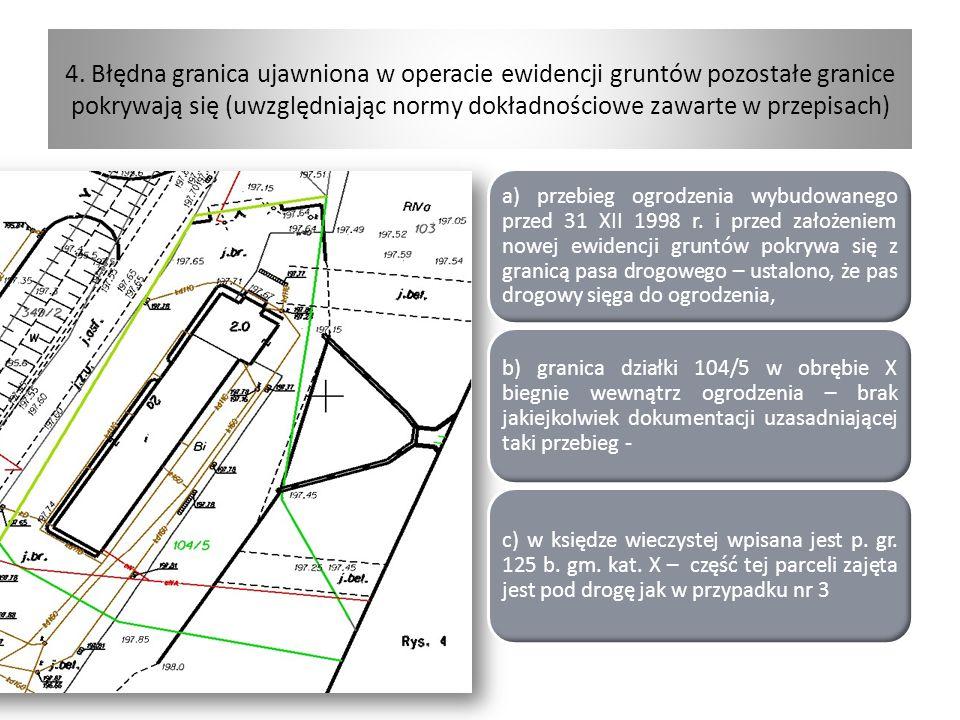 4. Błędna granica ujawniona w operacie ewidencji gruntów pozostałe granice pokrywają się (uwzględniając normy dokładnościowe zawarte w przepisach) a)