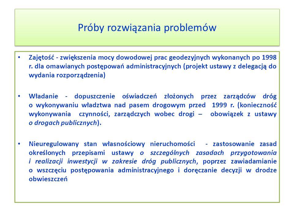 Próby rozwiązania problemów Zajętość - zwiększenia mocy dowodowej prac geodezyjnych wykonanych po 1998 r. dla omawianych postępowań administracyjnych