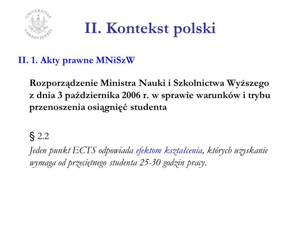 II. Kontekst polski II. 1. Akty prawne MNiSzW Rozporządzenie Ministra Nauki i Szkolnictwa Wyższego z dnia 3 października 2006 r. w sprawie warunków i