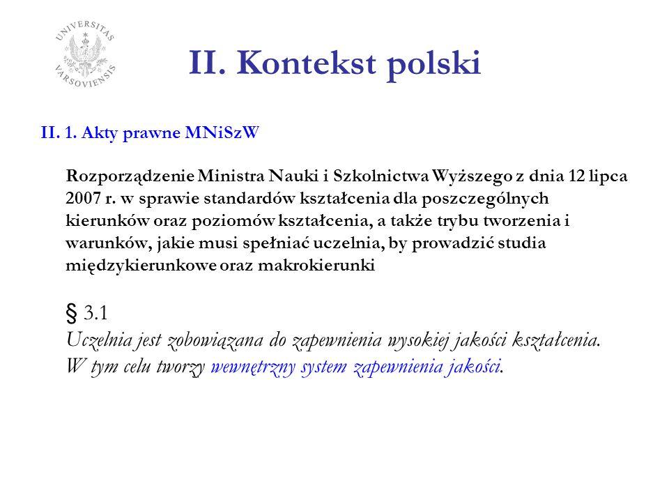 II. Kontekst polski II. 1. Akty prawne MNiSzW Rozporządzenie Ministra Nauki i Szkolnictwa Wyższego z dnia 12 lipca 2007 r. w sprawie standardów kształ