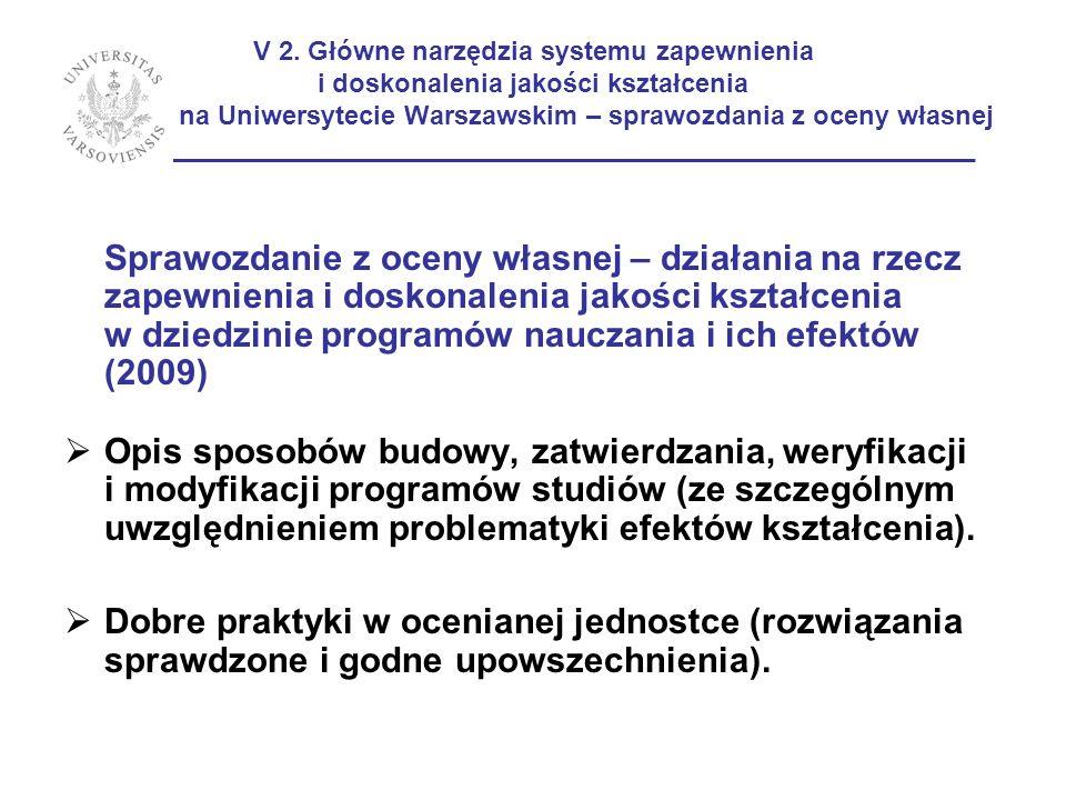 V 2. Główne narzędzia systemu zapewnienia i doskonalenia jakości kształcenia na Uniwersytecie Warszawskim – sprawozdania z oceny własnej _____________