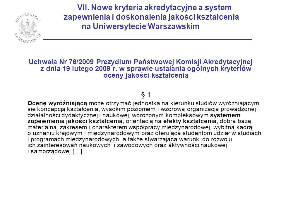 VII. Nowe kryteria akredytacyjne a system zapewnienia i doskonalenia jakości kształcenia na Uniwersytecie Warszawskim ________________________________