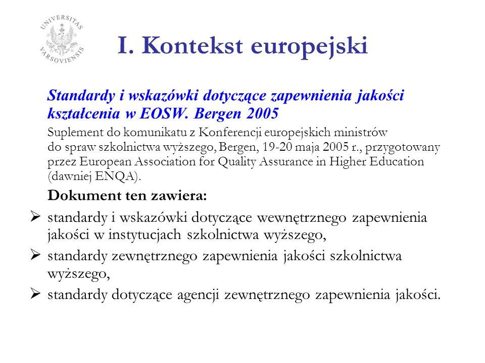 I. Kontekst europejski Standardy i wskazówki dotyczące zapewnienia jakości kształcenia w EOSW. Bergen 2005 Suplement do komunikatu z Konferencji europ