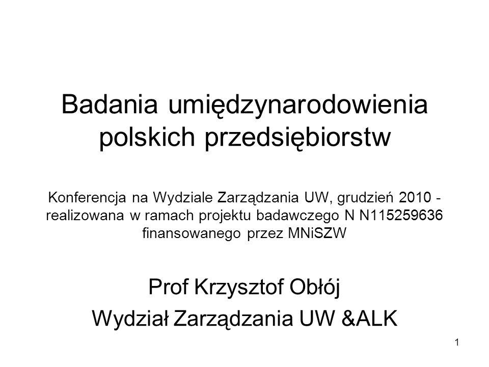 1 Badania umiędzynarodowienia polskich przedsiębiorstw Konferencja na Wydziale Zarządzania UW, grudzień 2010 - realizowana w ramach projektu badawczeg