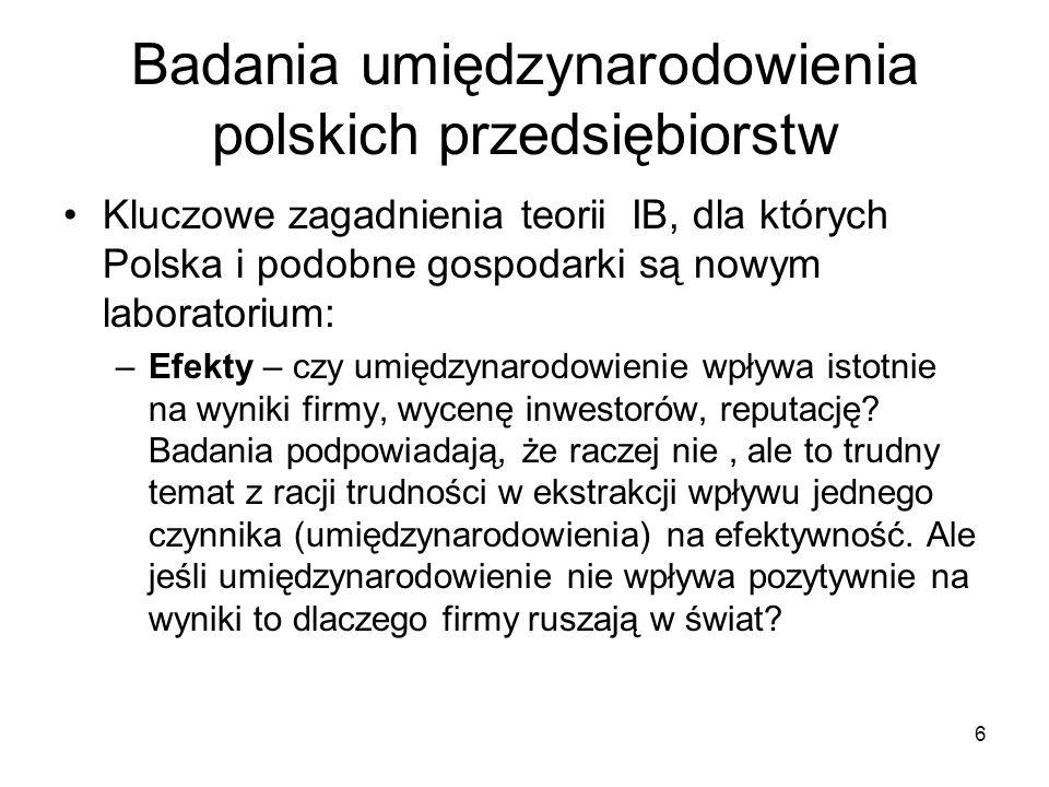 6 Badania umiędzynarodowienia polskich przedsiębiorstw Kluczowe zagadnienia teorii IB, dla których Polska i podobne gospodarki są nowym laboratorium: