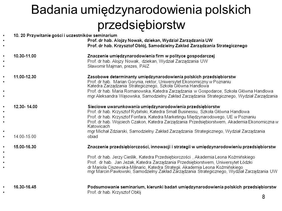 8 Badania umiędzynarodowienia polskich przedsiębiorstw 10. 20 Przywitanie gości i uczestników seminarium Prof. dr hab. Alojzy Nowak, dziekan, Wydział