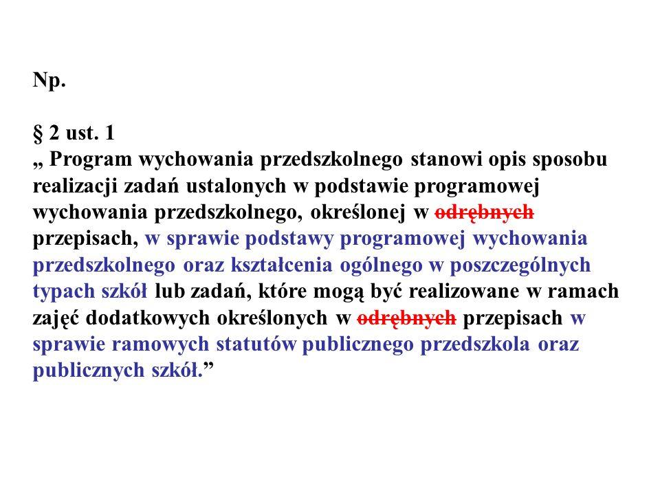Np. § 2 ust. 1 Program wychowania przedszkolnego stanowi opis sposobu realizacji zadań ustalonych w podstawie programowej wychowania przedszkolnego, o