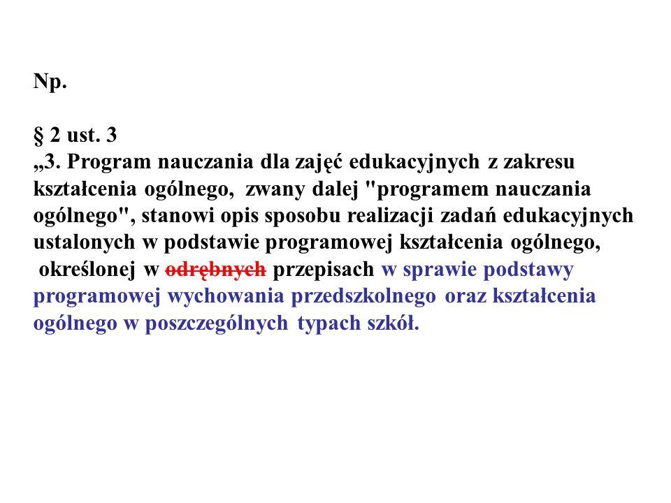 Np. § 2 ust. 3 3. Program nauczania dla zajęć edukacyjnych z zakresu kształcenia ogólnego, zwany dalej