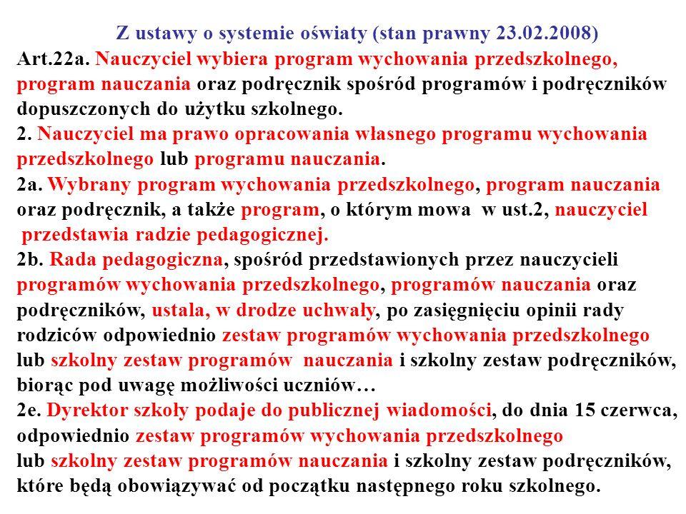 Z ustawy o systemie oświaty (stan prawny 23.02.2008) Art.22a. Nauczyciel wybiera program wychowania przedszkolnego, program nauczania oraz podręcznik
