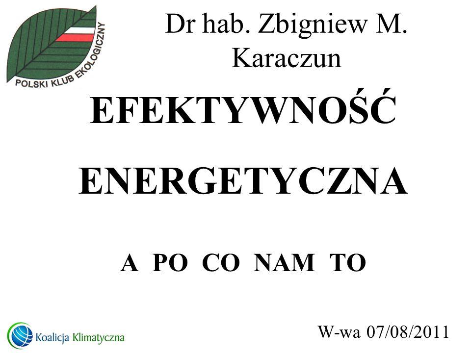 Dr hab. Zbigniew M. Karaczun EFEKTYWNOŚĆ ENERGETYCZNA A PO CO NAM TO W-wa 07/08/2011