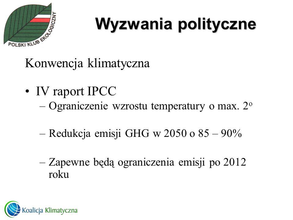 Wyzwania polityczne Konwencja klimatyczna IV raport IPCC –Ograniczenie wzrostu temperatury o max. 2 o –Redukcja emisji GHG w 2050 o 85 – 90% –Zapewne