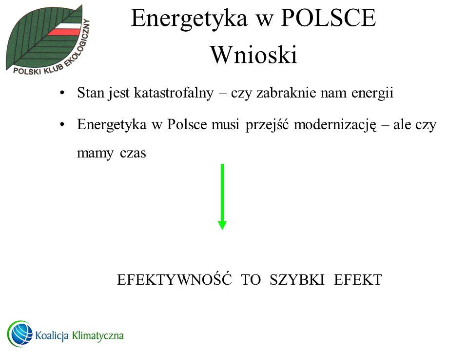 Energetyka w POLSCE Wnioski Stan jest katastrofalny – czy zabraknie nam energii Energetyka w Polsce musi przejść modernizację – ale czy mamy czas EFEK