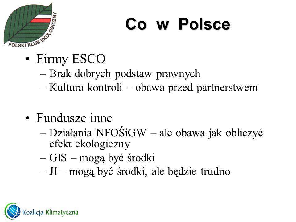 Co w Polsce Firmy ESCO –Brak dobrych podstaw prawnych –Kultura kontroli – obawa przed partnerstwem Fundusze inne –Działania NFOŚiGW – ale obawa jak ob