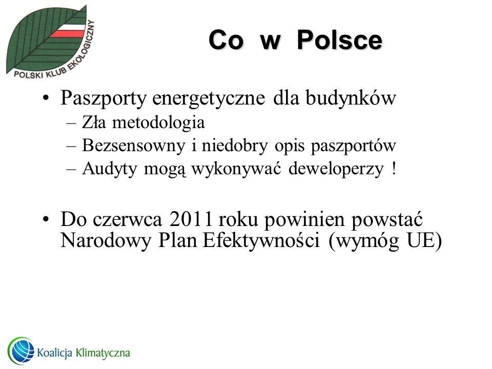 Co w Polsce Paszporty energetyczne dla budynków –Zła metodologia –Bezsensowny i niedobry opis paszportów –Audyty mogą wykonywać deweloperzy ! Do czerw
