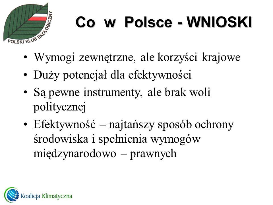 Co w Polsce - WNIOSKI Wymogi zewnętrzne, ale korzyści krajowe Duży potencjał dla efektywności Są pewne instrumenty, ale brak woli politycznej Efektywn