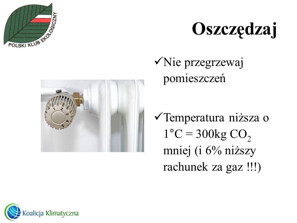 Oszczędzaj Nie przegrzewaj pomieszczeń Temperatura niższa o 1°C = 300kg CO 2 mniej (i 6% niższy rachunek za gaz !!!)