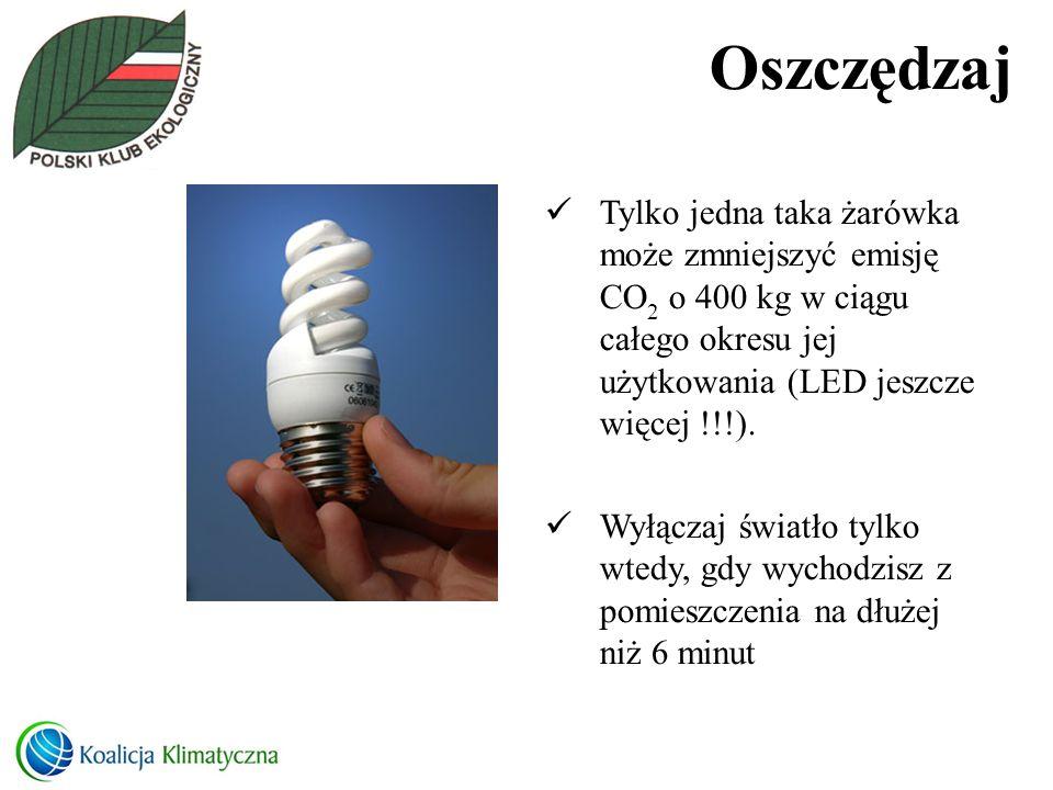 Oszczędzaj Tylko jedna taka żarówka może zmniejszyć emisję CO 2 o 400 kg w ciągu całego okresu jej użytkowania (LED jeszcze więcej !!!). Wyłączaj świa