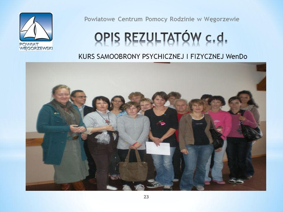 23 Powiatowe Centrum Pomocy Rodzinie w Węgorzewie KURS SAMOOBRONY PSYCHICZNEJ I FIZYCZNEJ WenDo
