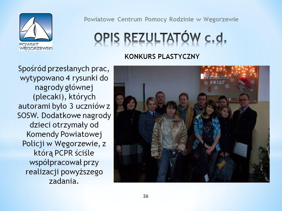 26 Powiatowe Centrum Pomocy Rodzinie w Węgorzewie KONKURS PLASTYCZNY Spośród przesłanych prac, wytypowano 4 rysunki do nagrody głównej (plecaki), któr