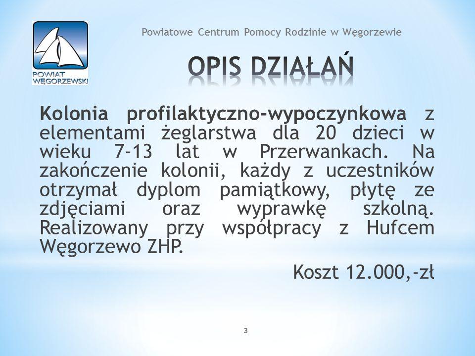 33 Kolonia profilaktyczno-wypoczynkowa z elementami żeglarstwa dla 20 dzieci w wieku 7-13 lat w Przerwankach. Na zakończenie kolonii, każdy z uczestni