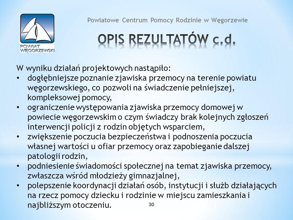 30 Powiatowe Centrum Pomocy Rodzinie w Węgorzewie W wyniku działań projektowych nastąpiło: dogłębniejsze poznanie zjawiska przemocy na terenie powiatu