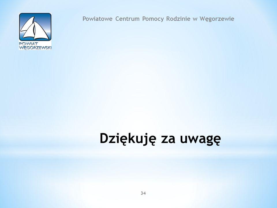 34 Dziękuję za uwagę Powiatowe Centrum Pomocy Rodzinie w Węgorzewie