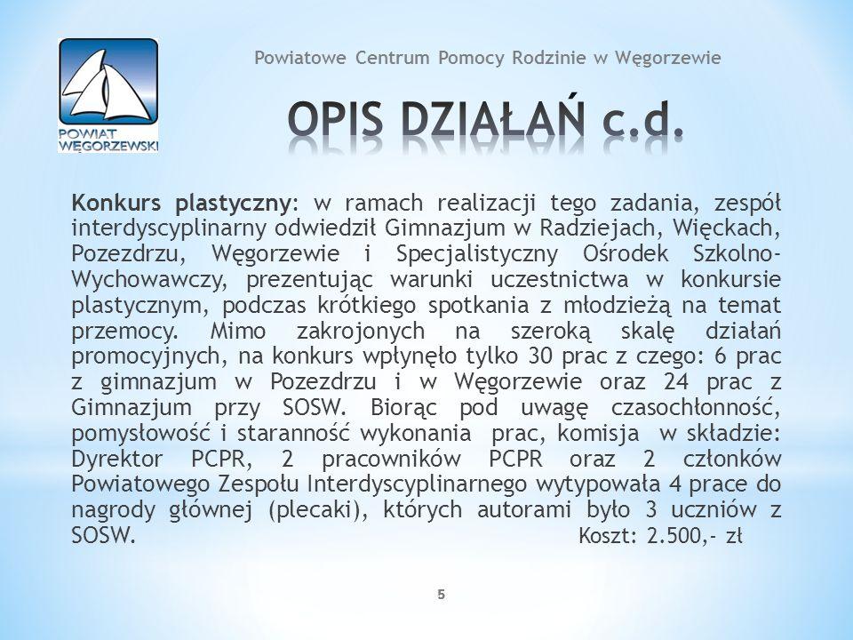 5555 Konkurs plastyczny: w ramach realizacji tego zadania, zespół interdyscyplinarny odwiedził Gimnazjum w Radziejach, Więckach, Pozezdrzu, Węgorzewie