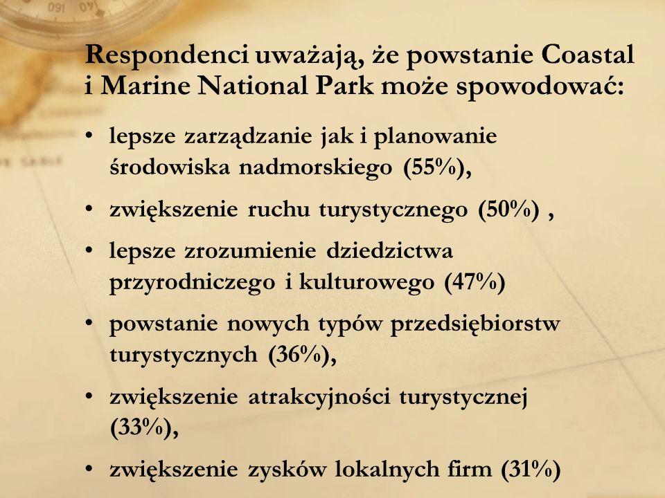 Respondenci uważają, że powstanie Coastal i Marine National Park może spowodować: lepsze zarządzanie jak i planowanie środowiska nadmorskiego (55%), z