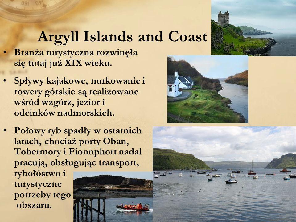 Argyll Islands and Coast Branża turystyczna rozwinęła się tutaj już XIX wieku. Spływy kajakowe, nurkowanie i rowery górskie są realizowane wśród wzgór