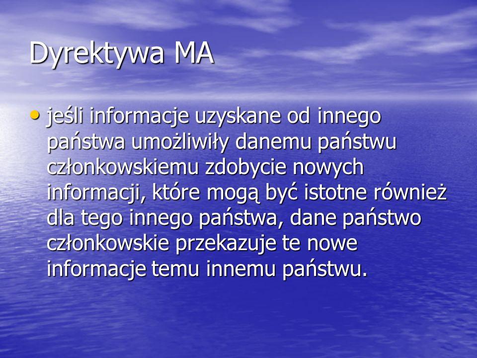 Dyrektywa MA jeśli informacje uzyskane od innego państwa umożliwiły danemu państwu członkowskiemu zdobycie nowych informacji, które mogą być istotne r