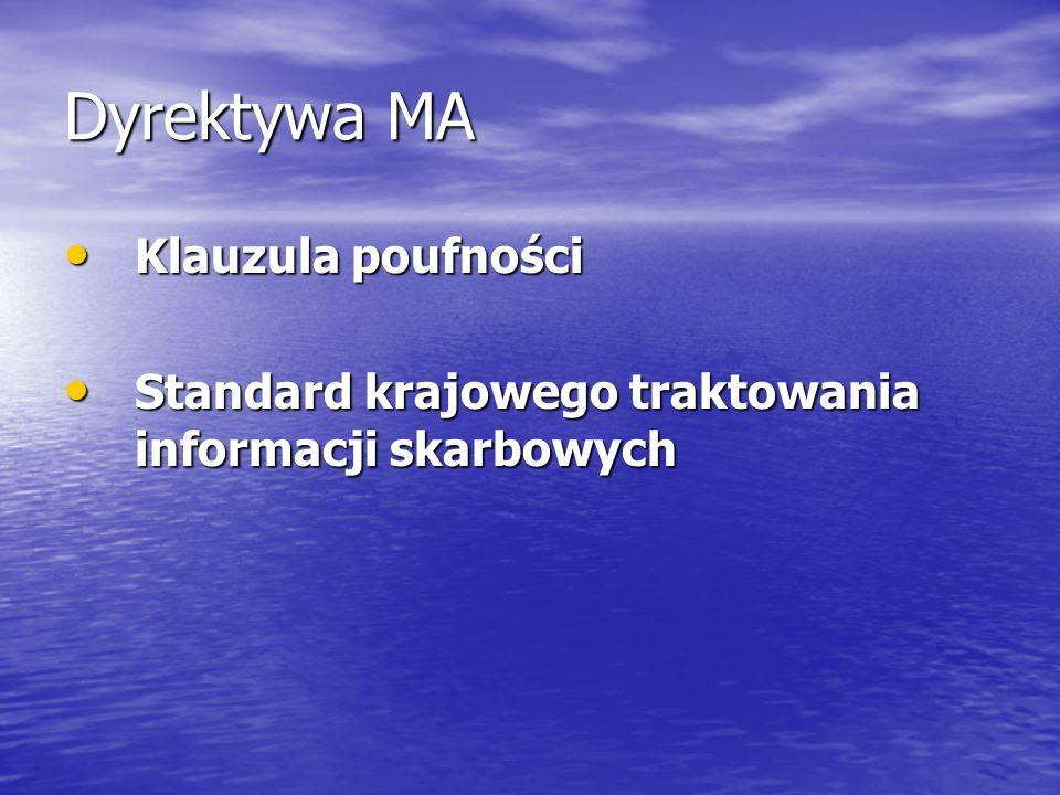 Dyrektywa MA Klauzula poufności Klauzula poufności Standard krajowego traktowania informacji skarbowych Standard krajowego traktowania informacji skar