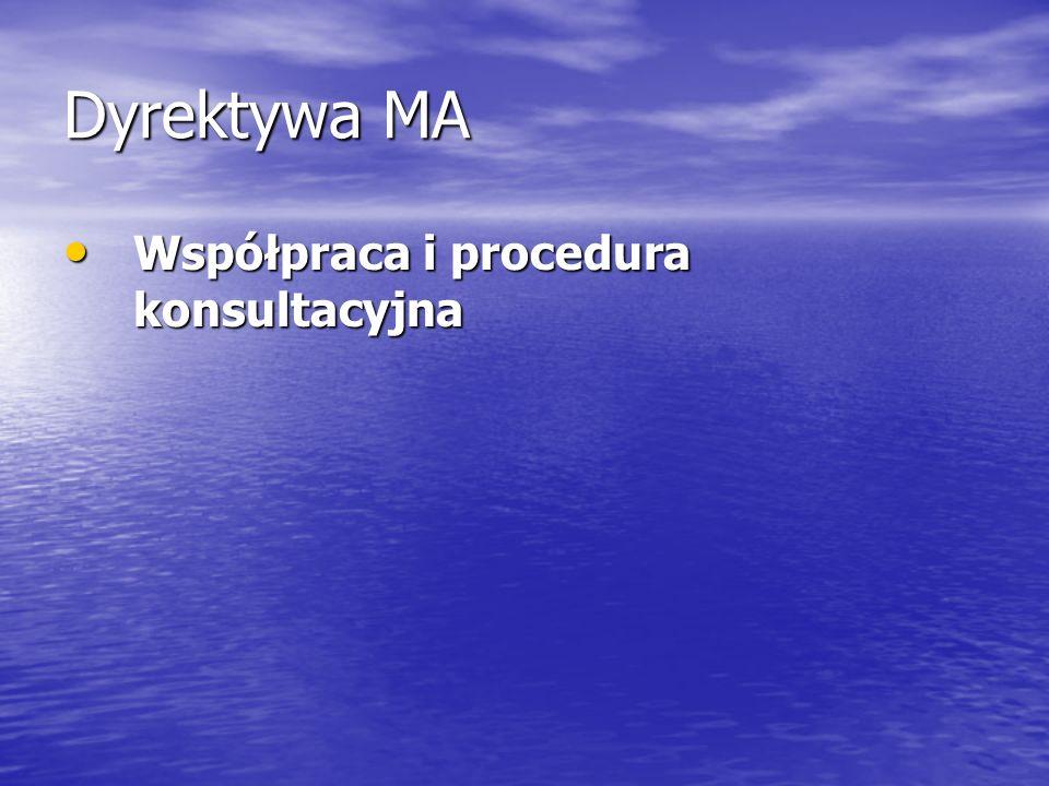 Dyrektywa MA Współpraca i procedura konsultacyjna Współpraca i procedura konsultacyjna