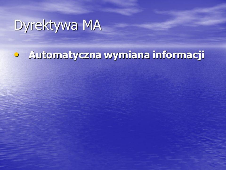 Dyrektywa MA Automatyczna wymiana informacji Automatyczna wymiana informacji